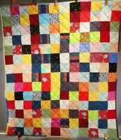 """New Handmade Lap Quilt / Wall Hanging / """"Multi-Colored Patchwork"""" / 47"""" H x 41 W"""