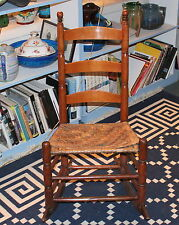 Antique Shaker Rocking Chair Splint Seat Early New England 19th C Rocker