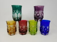 "Vtg ""Bamberg"" Chartreuse Green Blue Purple Amber Red Cut to Clear Glass Tumblers"
