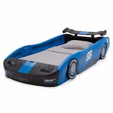 Kids Twin Bed Blue Sports Racing Car Nascar Toddler boy wheels zoom ride drive