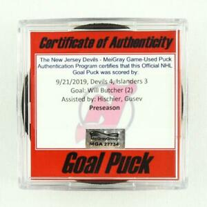 2019-20 Will Butcher New Jersey Devils Game-Used Goal-Scored Puck -Hischier Ast.