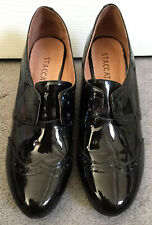 STACCATO BLACK PATENT WEDGE HEEL SHOES WITH 2 HOLE LACES IN BROGUE DESIGN -UK 5