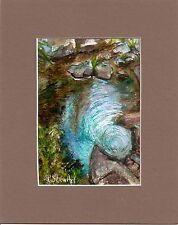 Whirlpool Abstract Landscape painting 5x7 Mixed Media Art w/mat Penny StewArt