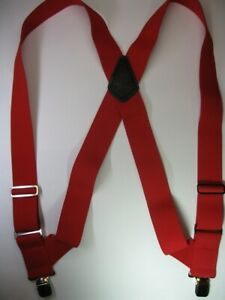 "2"" SIDEGRIP SUSPENDERS, SNAPS, JUMBO CLIPS, 2 PIN or Button On MADE IN USA"