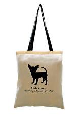 TOTE BAG: CHIHUAHUA, Cream (black handles) 100% cotton
