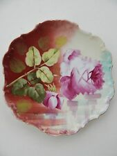 """Antique Limoges Flambeau  Hand painted Roses Plate Artist Signed  10""""  1850-99"""