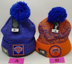 New York Knicks~NBA~New Era~Beanie~On-Court~Cuffed with Pom~2 Different Styles
