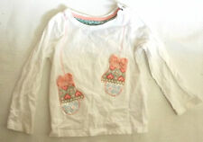 MOTHERCARE BABY WHITE COTTON LONG SLEEVE T SHIRT GLOVES MOTIF ON FRONT 9 - 12M