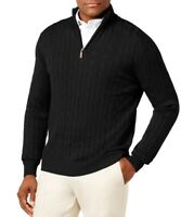 Club Room Mens Sweater Black Size Medium M Cable Knit 1/2 Zip Mock Neck $65 236