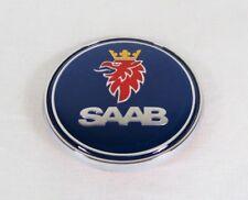 SAAB HOOD EMBLEM 93 95 97X NEW BLUE/CHROME ROUND BADGE sign symbol logo crest