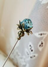 Victorian Hat Pin Faceted Sapphire Bronze Vintage Antique Inspired Scarf Pin