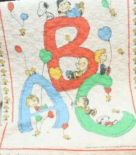 Vintage Peanuts Baby Blanket Throw 1965 Snoopy Charlie Brown ABC Alphabet