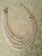 "Vintage Four Strand Graduated Crystal Necklace 14"""