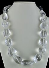 BIG NATURAL ROCK CRYSTAL QUARTZ BEADS FACETED TUMBLE 2171 CTS GEMSTONE NECKLACE