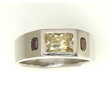 2.53 ctw Fancy Color Diamond 3 Stone Ring GIA size 13 14K Gold DK Design