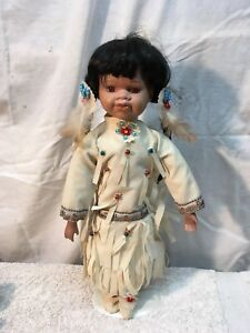 Vintage Indian Girl With Souvenir Doll with stand 17in tall Seed Bead out fit
