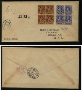 Turks & Caicos   40, 50 blocks on registered cover  1927      MS0722
