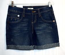 "SO Denim Shorts Jr Size 5 NEW  29 x 7"" Color Blue Boy Ragged Cuffs 5 pockets"