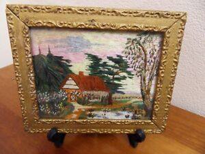 SET OF 3 EARLY 19th CENTURY FRAMED LONG STITCH SILK SCENIC  EMBROIDERIES