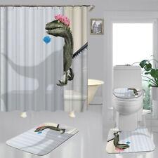 Funny Cartoon Dinosaur Bath Mat Toilet Cover Rugs Shower Curtain Bathroom Decor