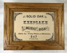 """Solid Oak Wood Music Box Plays Amazing Grace (whole tune) Space for 5x7"""" Photo"""