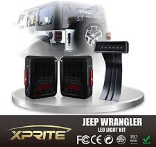 LED Rear Taillight & Third Red Brake Light Smoke Combo For 07-17 Jeep Wrangler