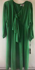 Women's Dress VICKY TIEL EMERALD GREEN Cut Out 3/4 Sleeve Stretchy Slinky XL