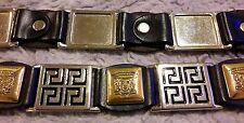 """Estro verso vintage black leather belt fits 31-34 , 1 """" wide medusa greek key"""