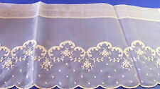 Vintage White Embroidered Scalloped Polyester Curtain Valance Nos 12x76 Fabric