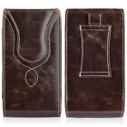 Premium Vertical Leather Holster Case Pouch w/ Belt Clip for Various Cell Phones