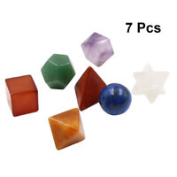 7 Pcs Chakra Stone Platonic Geometry Sacred Merkaba Carved Stone Set for Healing