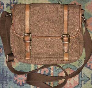 Unisex Fossil Estate Tweed Leather Trim Messenger Bag