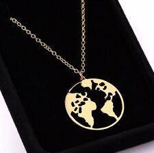 World Map Necklace Gold Color Earth Day Gift Pendants