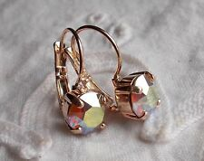 8mm Cup Chain SAND OPAL AB/ROSE GOLD EARRINGS Handmade w/Swarovski Crystals