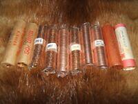 10 UNC / mint / bank wrap rolls...nice dealer resale lot...free shipping!!!