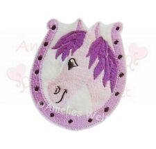 Pferd Pferdekopf Applikation in lila Aufnäher zum aufbügeln gestickt bügelbild