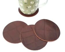 REAL LEATHER TABLE COASTERS *SET OF 4* 90MM DIAM CUP MUG GLASS TABLE PLACE MATS{