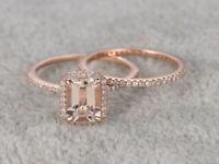 1.2 Ct Emerald Cut Peach Morganite Halo Bridal Ring Set 14k Rose Gold Over