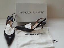 Authentic Manolo Blahnik Carolyne Calf Tartuf Brown Slingback Kitten Heels 9.5