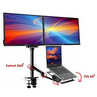 Adjustable Height Table Top Sit/Stand Desk riser fr double monitor/laptop