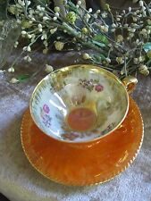 COLLECTIBLE VTG RW BAVARIA 20 MADE IN GERMANY OPALESCENT FLORAL CUP & SAUCER #61