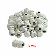Durable Waterproof White Nylon Cable Connector Gland Dia. 6-12mm PG13.5 - 20 Pc