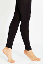 NWT Medium / Large Urban Outfitters Black Stripe Textured Fleece Lined Tights
