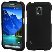 BLACK RUBBERIZED HARD SHELL CASE COVER FOR SAMSUNG GALAXY S5 ACTIVE SM-G870A