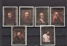 a129 - YEMEN - SGR198-R203 MNH 1967 REMBRANDT PAINTINGS - IMPERF