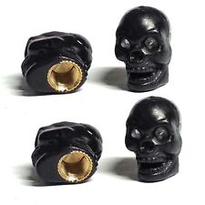 4 Black Evil Skull Tire Air Valve Stem Caps - Car Truck Hotrod ATV Wheels