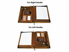 Zippered Genuine Leather Business Portfolio A4 Padfolio Case Organizer Folder