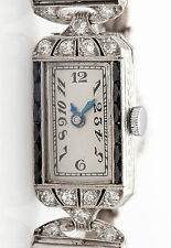 Antique 1920s $6000 2ct French Cut Onyx Diamond Platinum Ladies Dress Watch WRTY