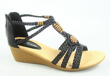 NEW Women's Low Wedge Ankle Strap Zip Open Toe Braided Sandal Shoes Size 5 - 10