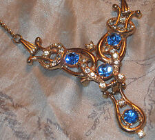 EXQUISITE Old ART DECO RHINESTONE NECKLACE w SPARKLING BLUE RS DROP HINGE BROOCH